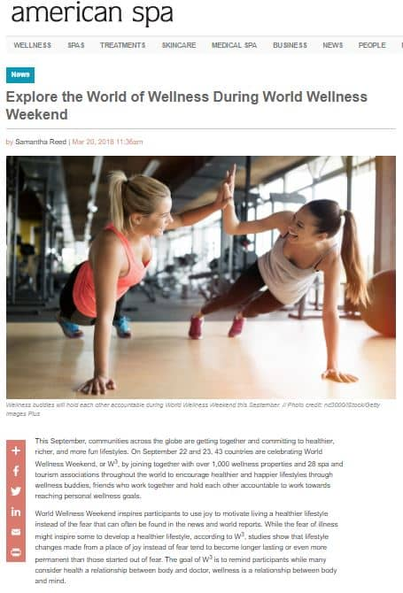 Article American Spa World Wellness Weekend 20180320