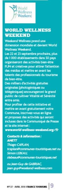 Article France Tourisme Avril 2018