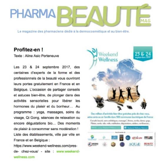 Article Pharmabeaute Weekend Wellness Sept 2017
