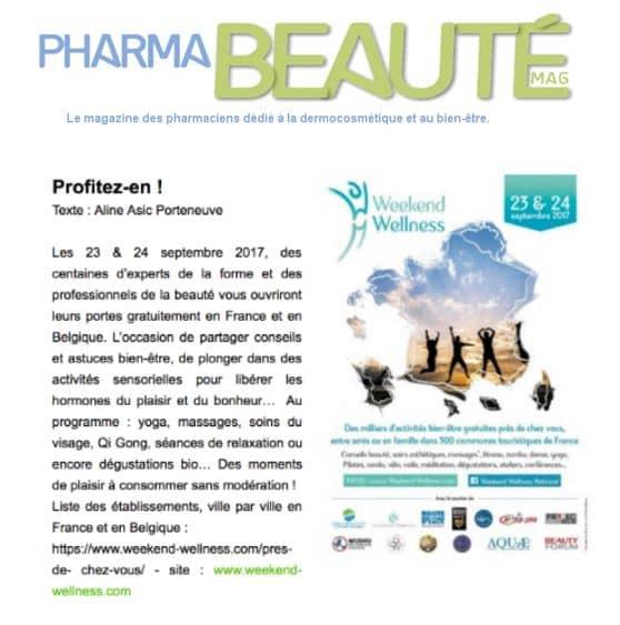 Article Pharmabeaute Weekend Wellness Sept 2017