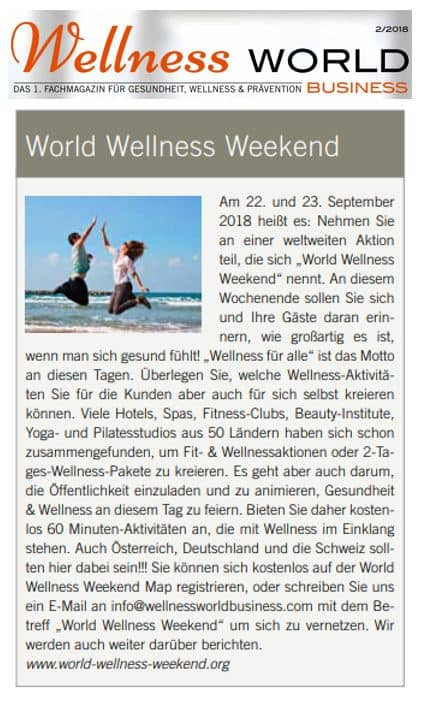 Article Wellness World Germany 2018
