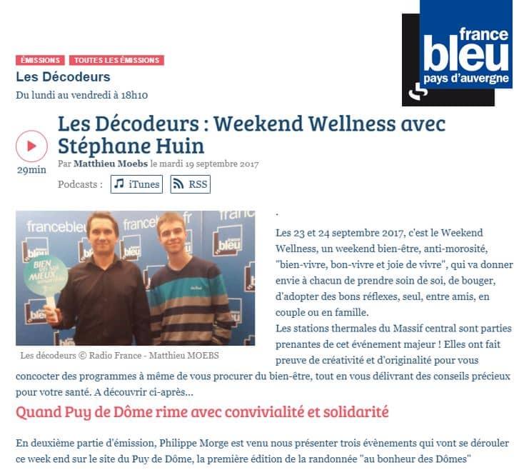 France-bleu-payauvergne Weekend Wellness Sept 2017