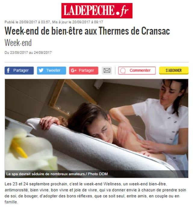 La Depeche Thermes de Cransac Sept 2017 Weekend Wellness