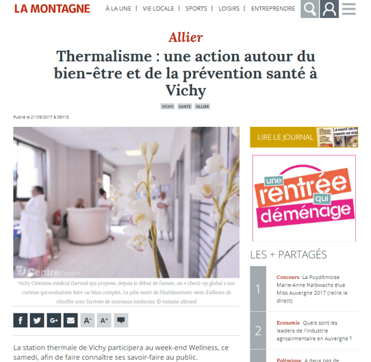 La Montagne Allier Sept 2017 Weekend Wellness
