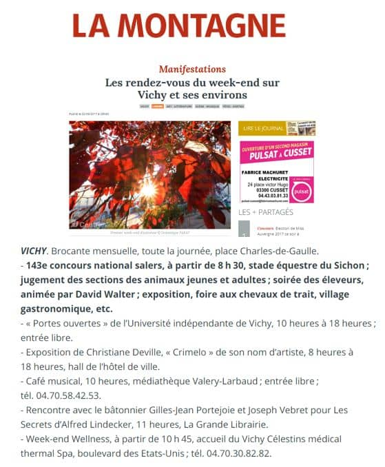 La Montagne Vichy Sept 2017 Weekend Wellness