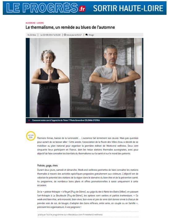Le Progres Haute Loire Sept 2017 Weekend Wellness