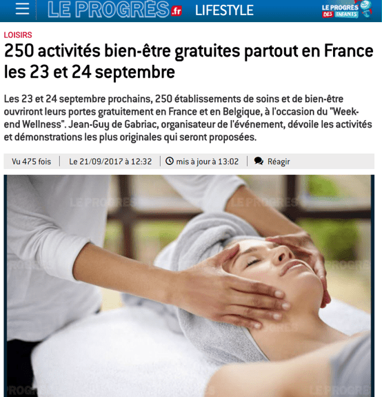 Le Progres Sept 2017 Weekend Wellness