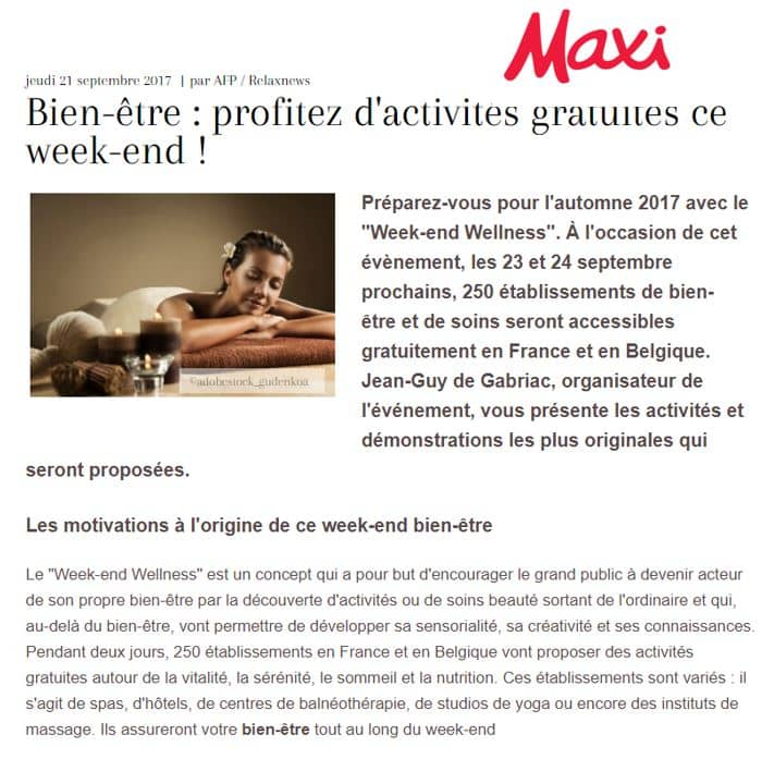 Maxi Sept 2017 Weekend Wellness