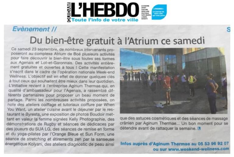 QUIDAM Hebdo Sept 2017 Weekend Wellness