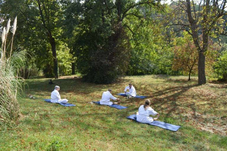 Spa Source dEquilibre Chatel Guyon Yoga in Bathrobe FRANCE
