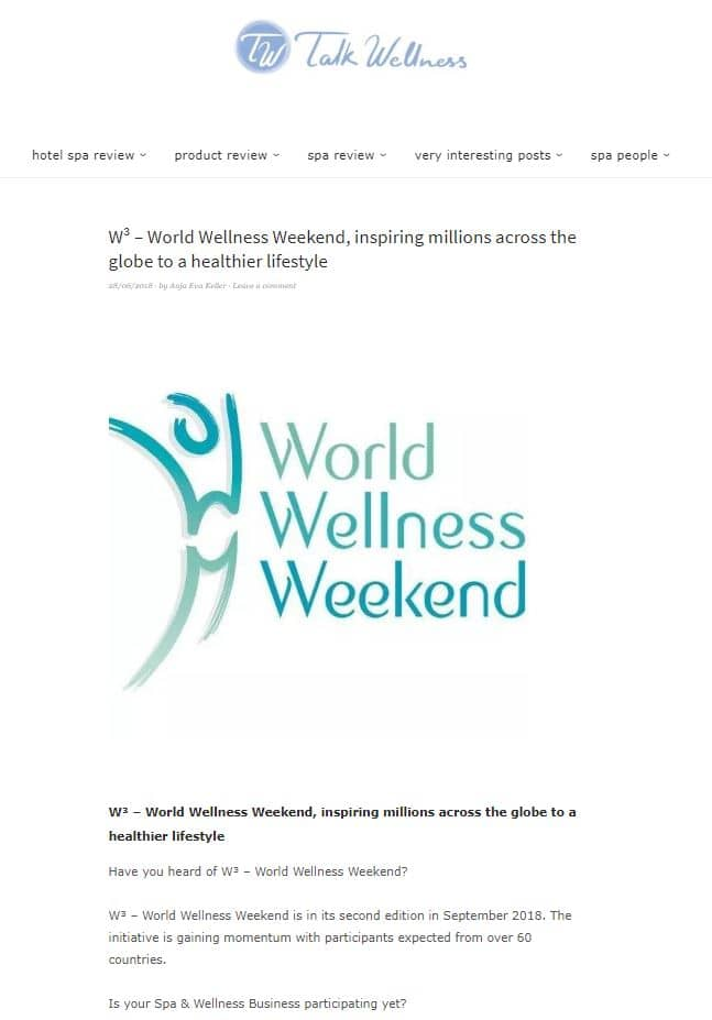 Talk Wellness World Wellness Weekend inspiring millions across the globe to a healthier lifestyle 20180628