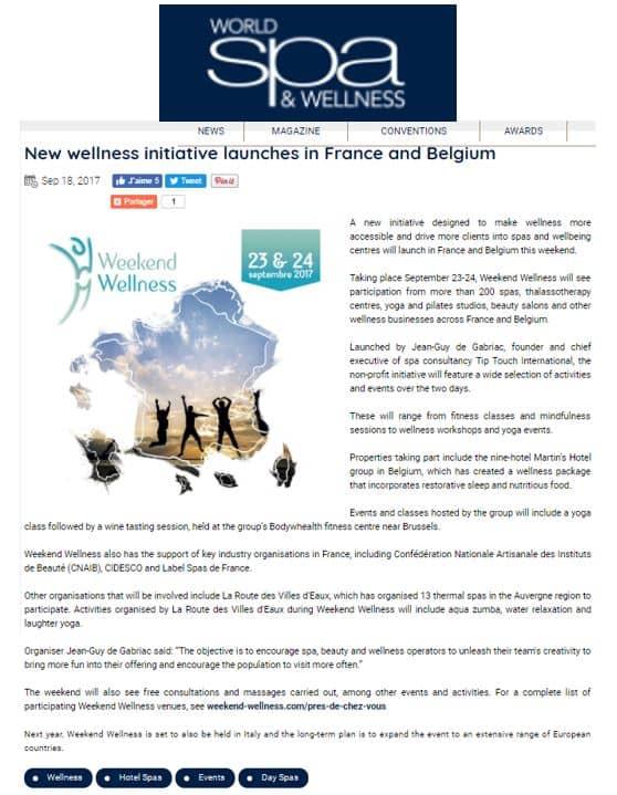 World Spa Wellness Sept 2017 Weekend Wellness